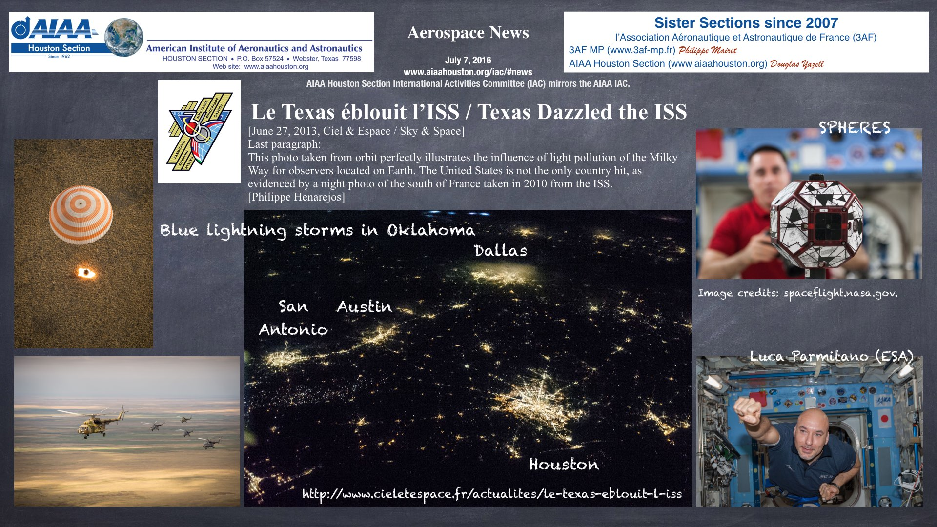 Above: Texas Dazzles the International Space Station. (Click to zoom.)