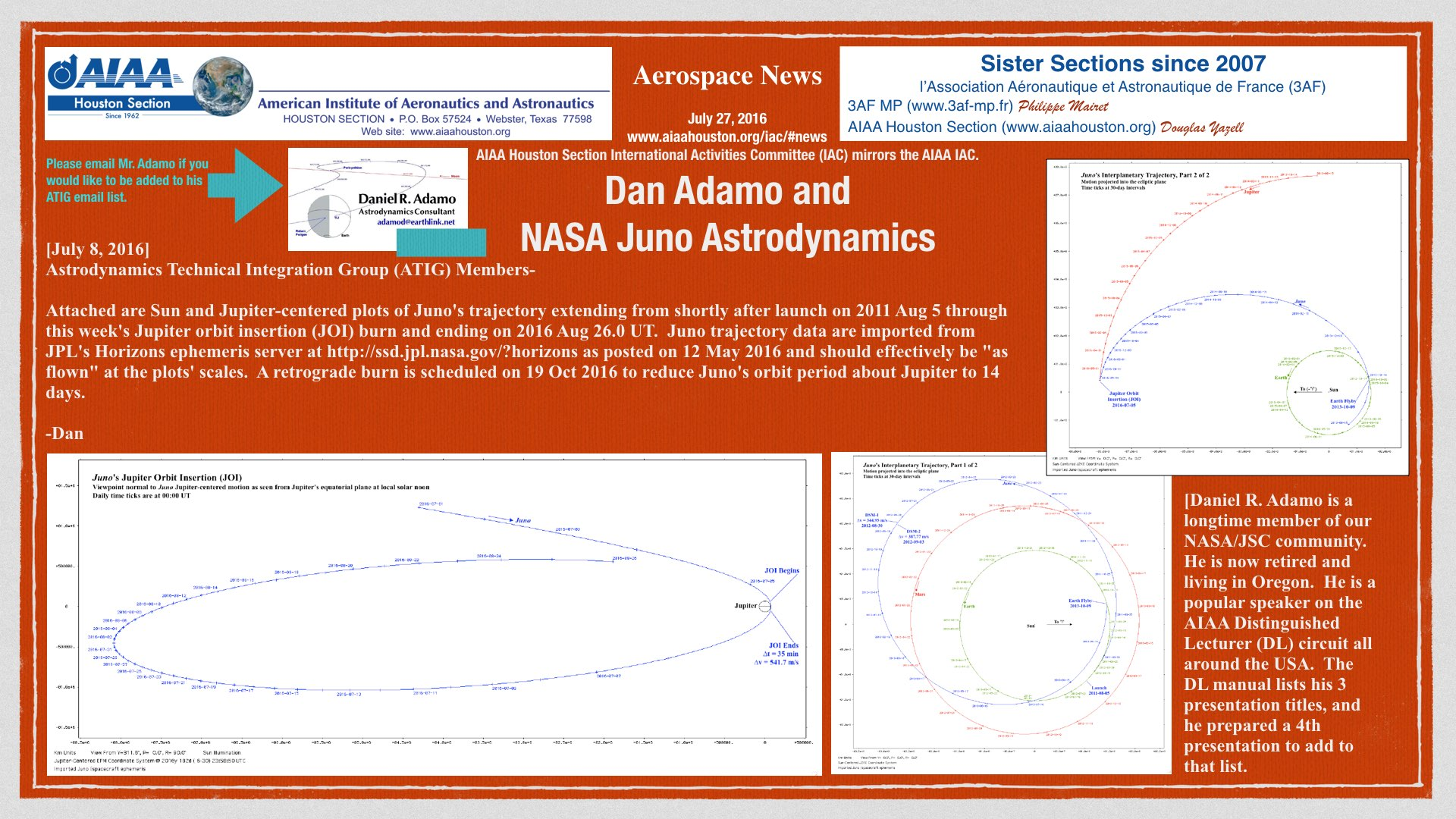 Above: Juno trajectory from astrodynamicist Daniel R. Adamo. (Click to zoom.)