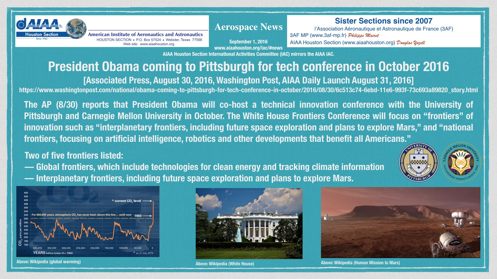 Above: President Obama coming to Pittsburgh for tech conference in October 2016. (Click to zoom.)