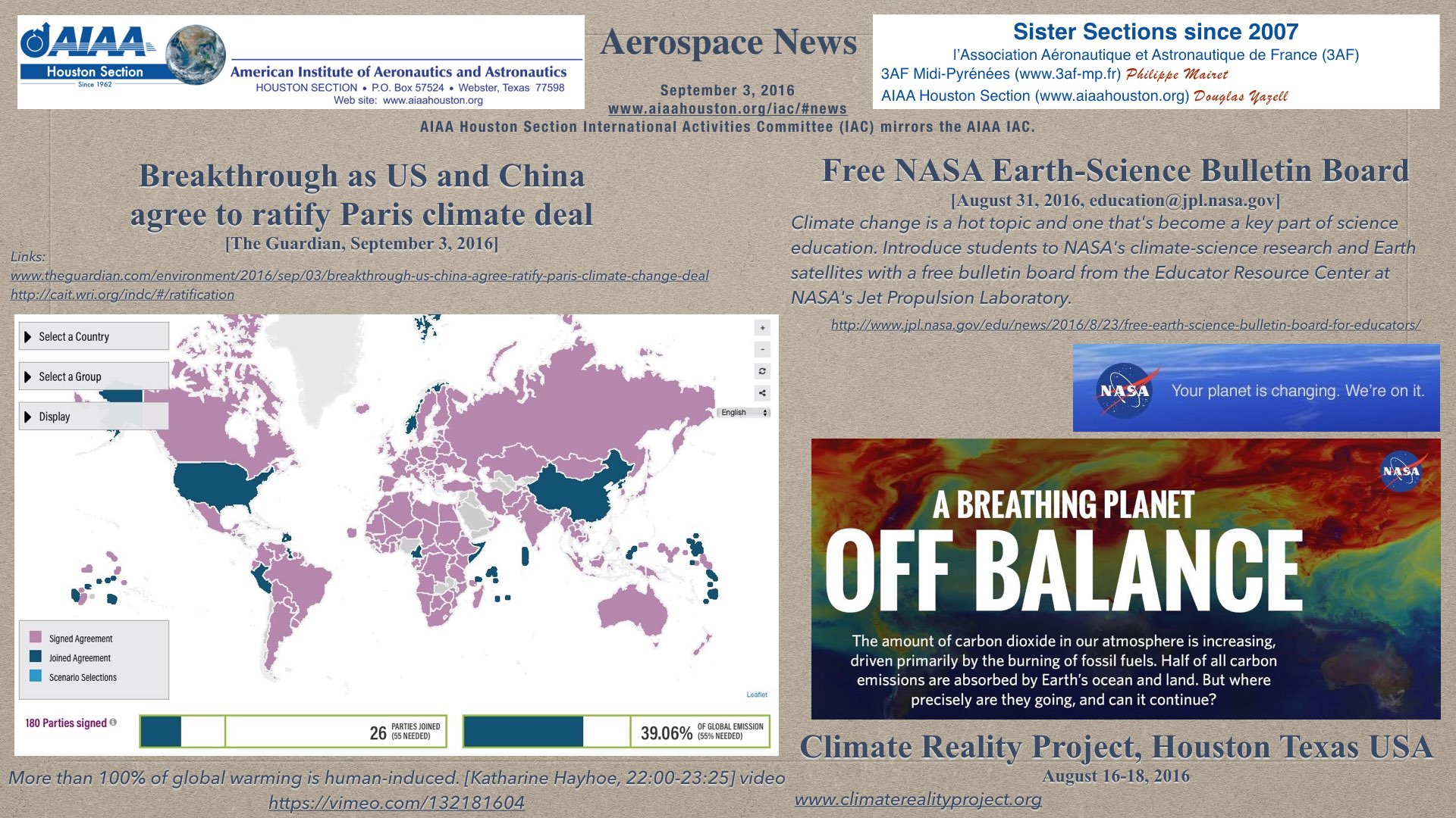 Above: Three headlines. Human-Induced Climate Change Requires Urgent Action. [AGU, 2013] (Click to zoom.)
