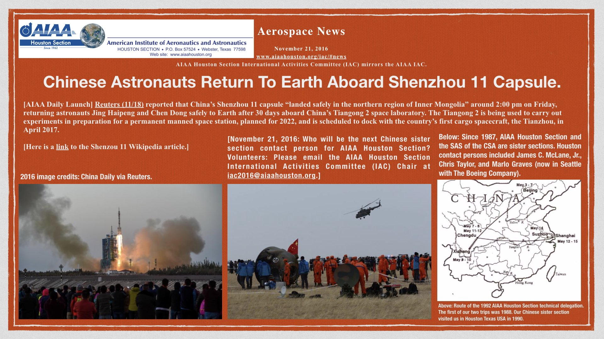 Above: Chinese Astronauts Return To Earth Aboard Shenzhou 11 Capsule.