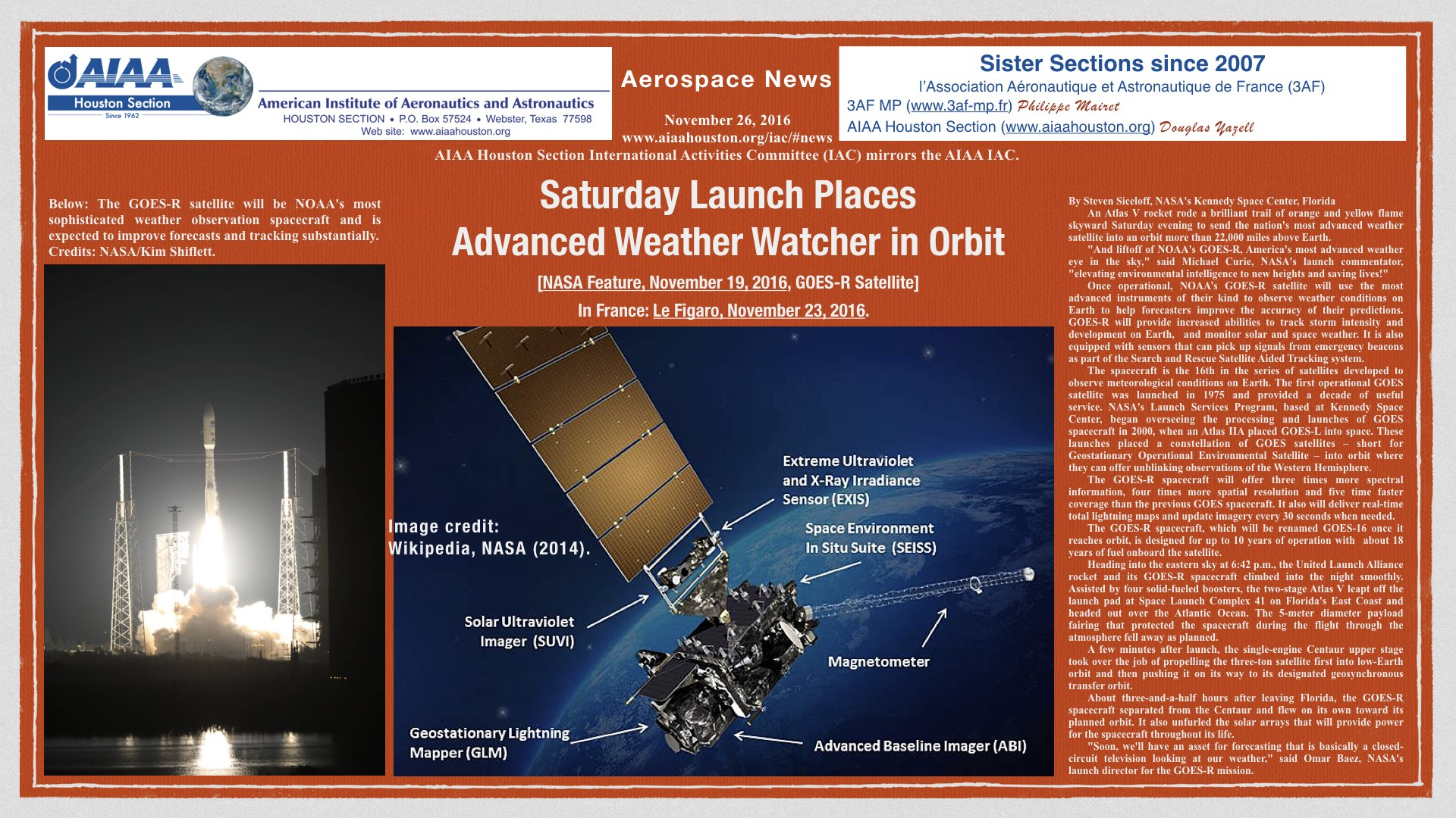 Above: Saturday Launch Places Advanced Weather Watcher in Orbit. (Click to zoom.)