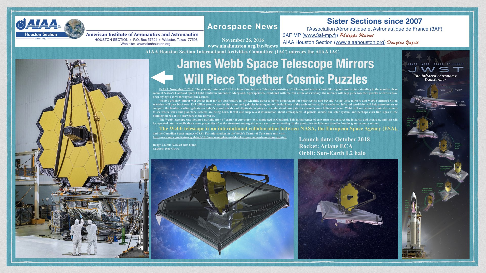 Above: James Webb Space Telescope Mirrors Will Piece Together Cosmic Puzzles. (Click to zoom.)