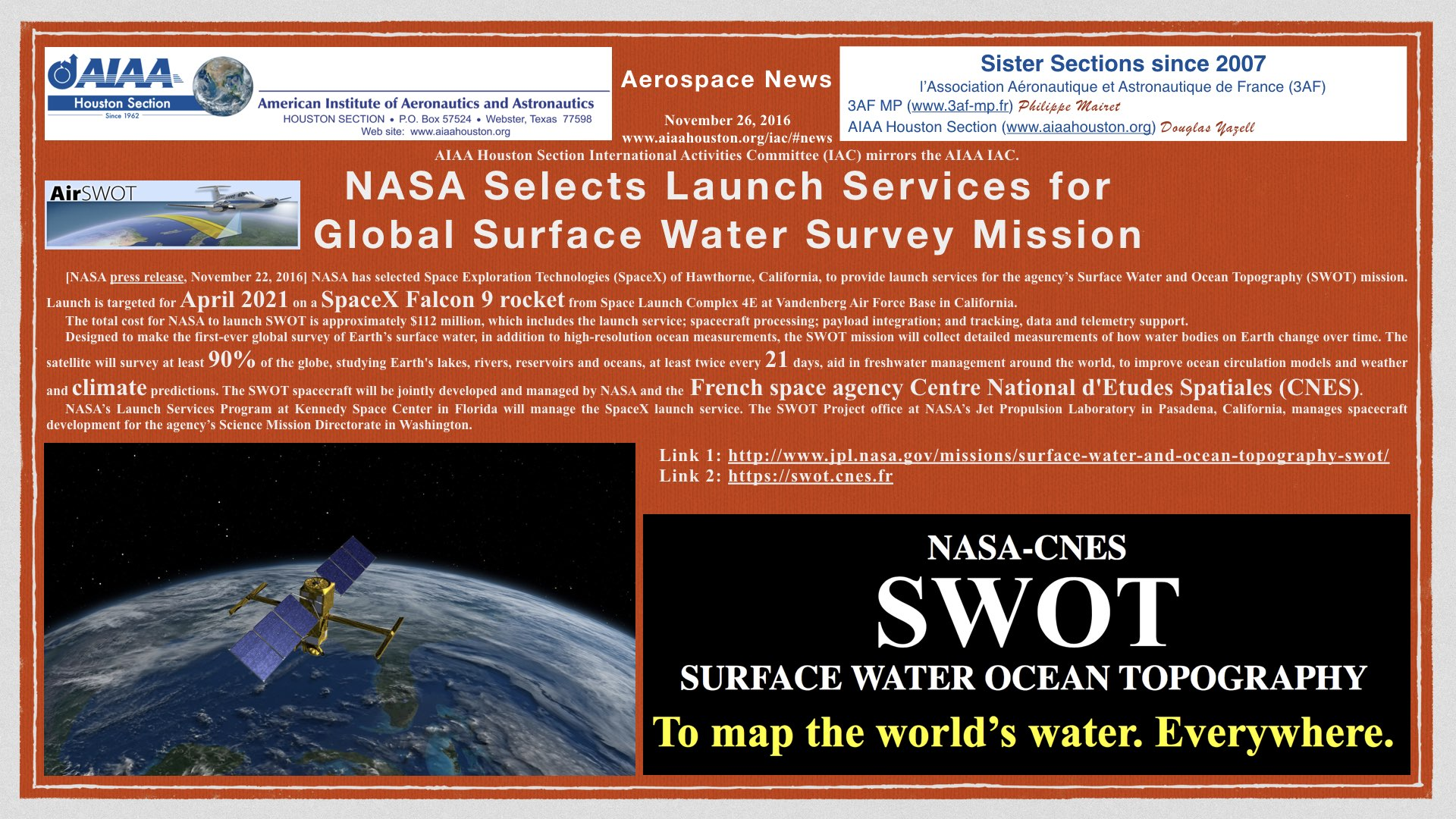 Above: NASA Selects Launch Services for Global Surface Water Survey Mission. (Click to zoom.)