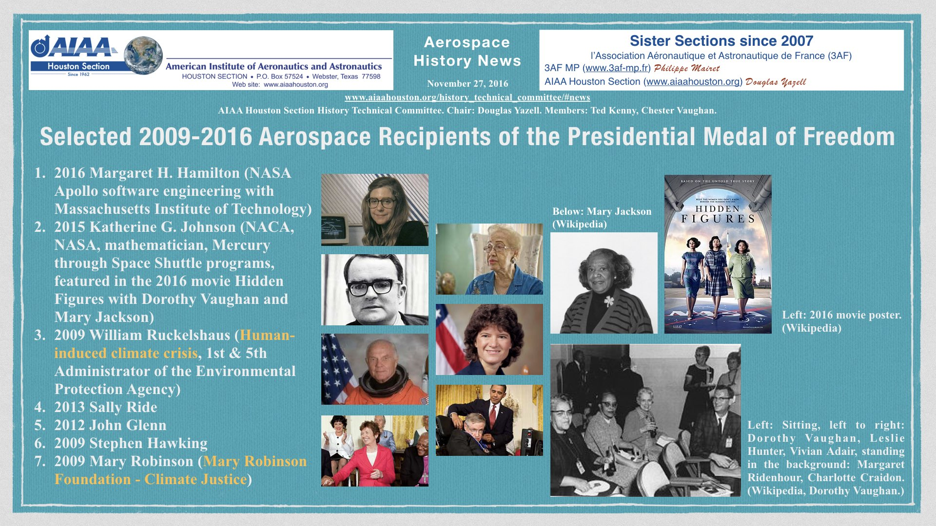 Above: Selected 2009-2016 Recipients of the Presidential Medal of Freedom. (Click to zoom.)