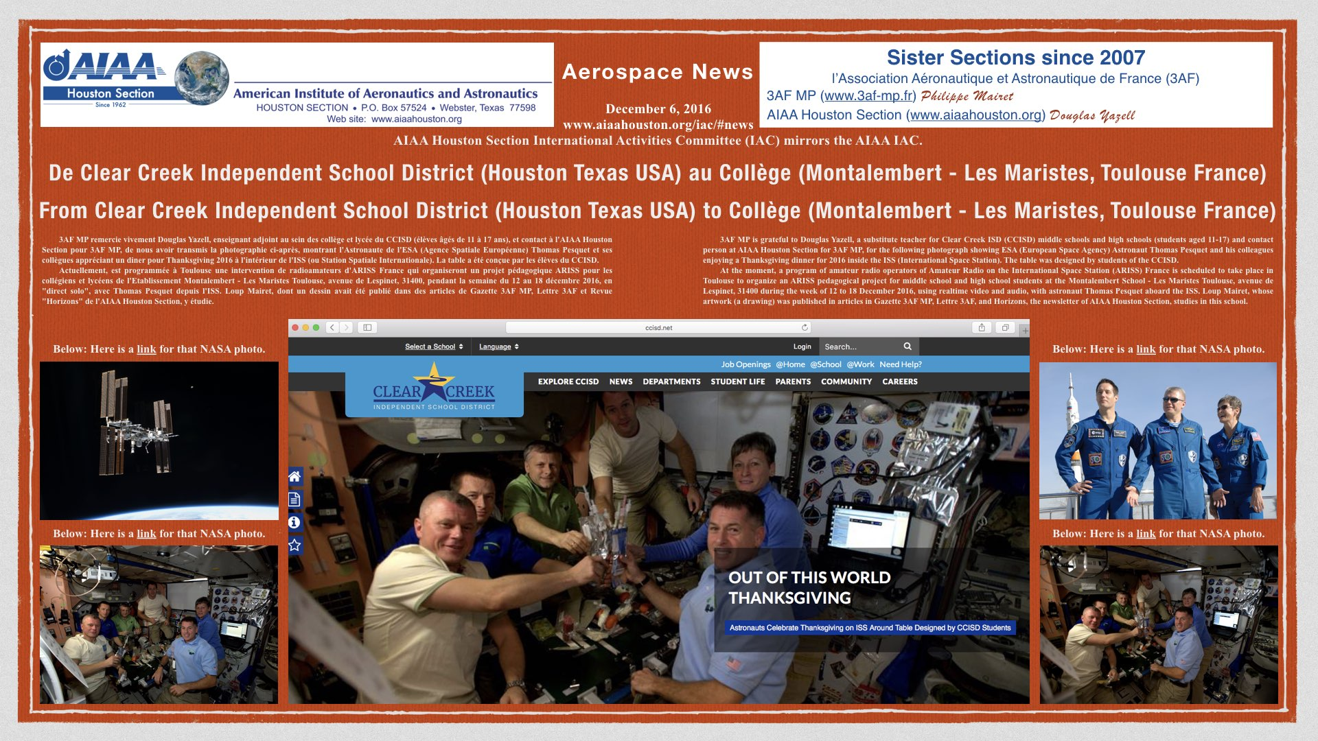 Above: From Clear Creek Independent School District (Houston Texas USA) to Collège (Montalembert - Les Maristes, Toulouse France). (Click to zoom.)