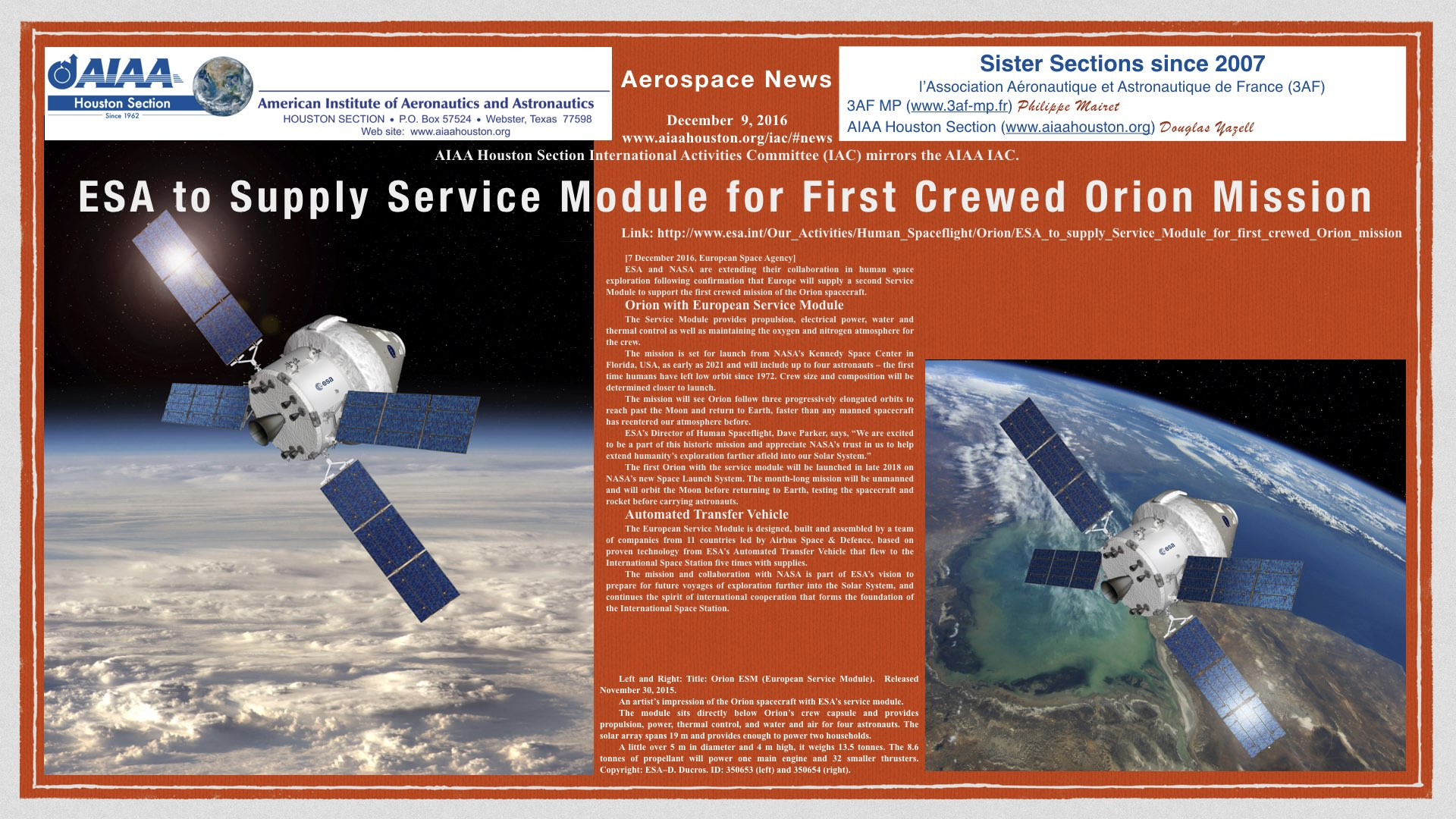 Above: ESA to Supply Service Module for First Crewed Orion Mission. (Click to zoom.)