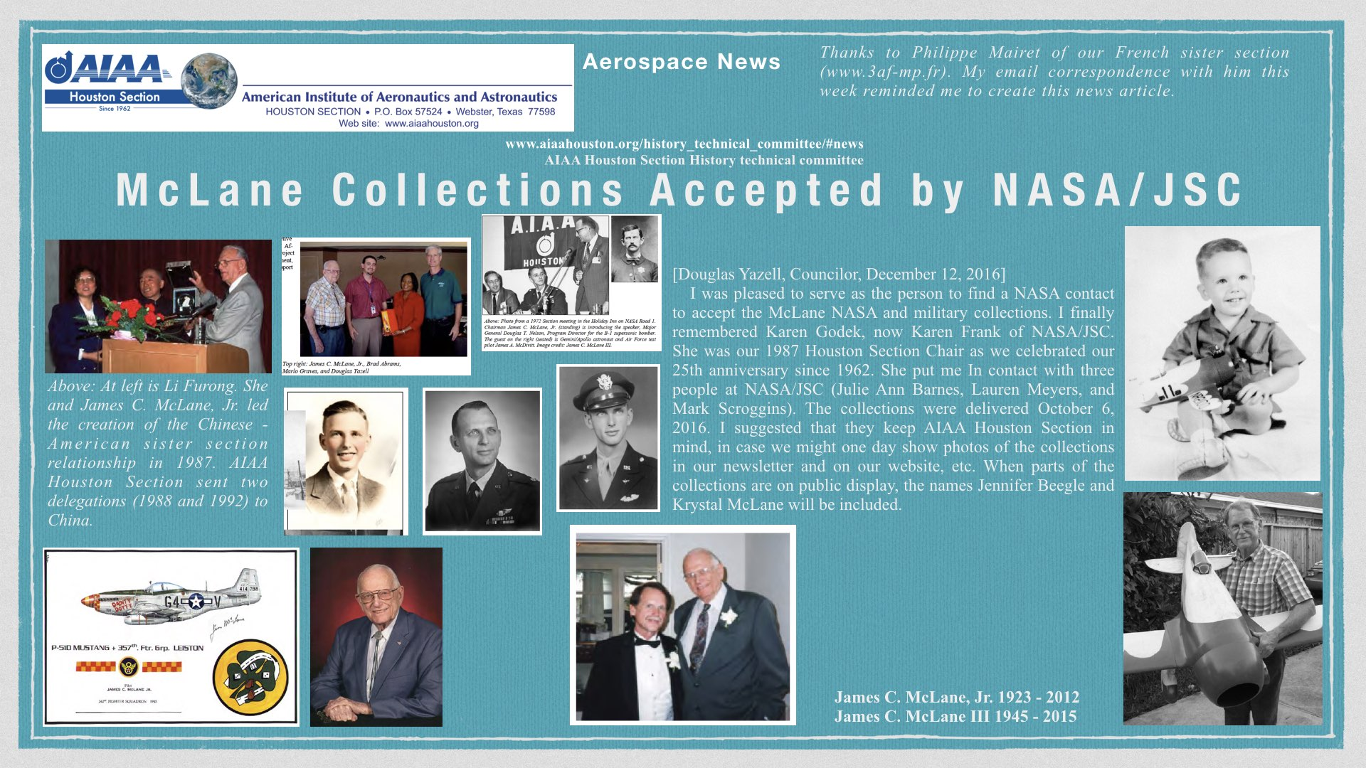 Above: McLane Collections Accepted by NASA/JSC. (Click to zoom.)