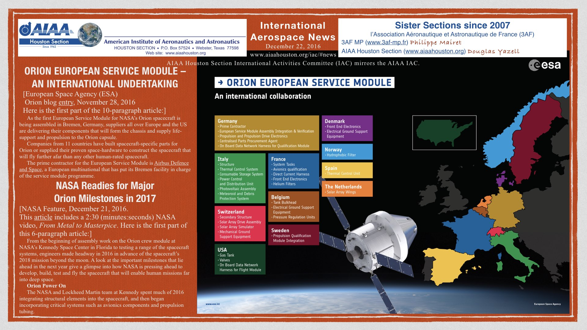 Above: ORION EUROPEAN SERVICE MODULE – AN INTERNATIONAL UNDERTAKING. (Click to zoom.)