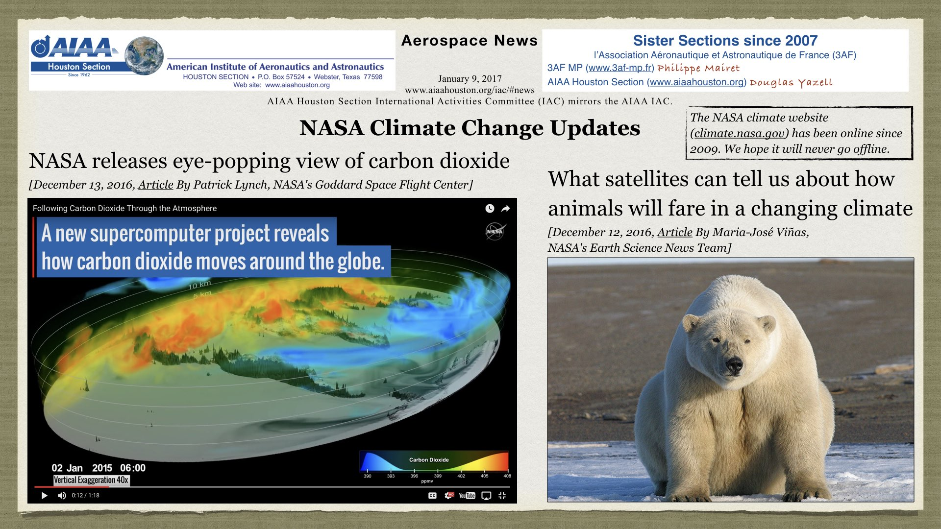 Above: NASA climate change updates. (Click to zoom.)