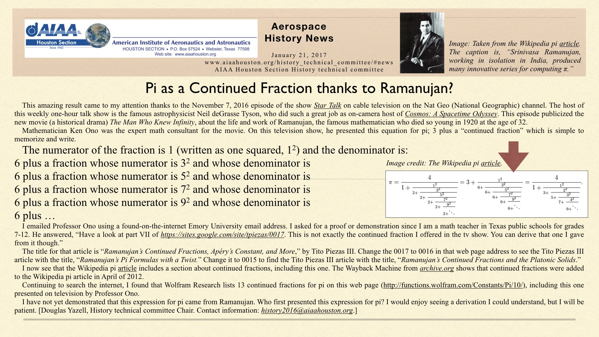 Above: Pi as a Continued Fraction thanks to Ramanujan? (Click to zoom.)