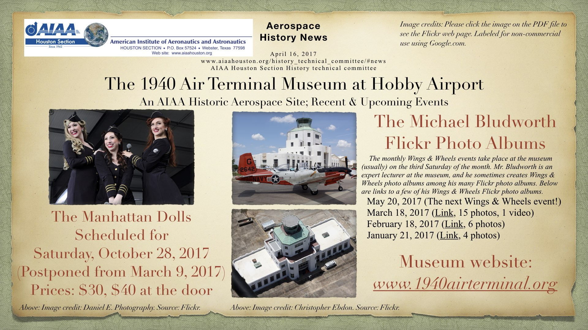 Above: The 1940 Air Terminal Museum at Hobby Airport; An AIAA Historic Aerospace Site; Recent & Upcoming Events. (Click to zoom.)