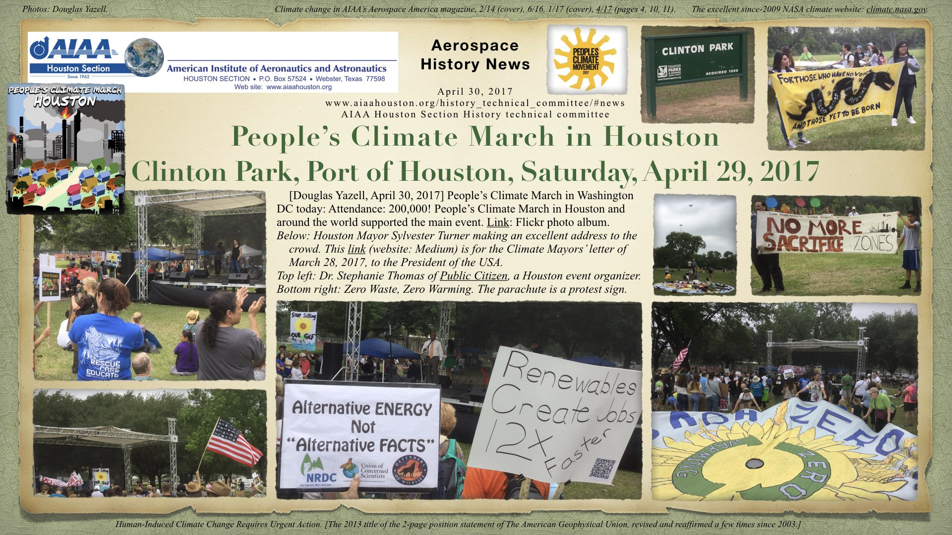 Above: People's Climate March in Houston, Clinton Park, Port of Houston, Saturday, April 29, 2017. (Click to zoom.)