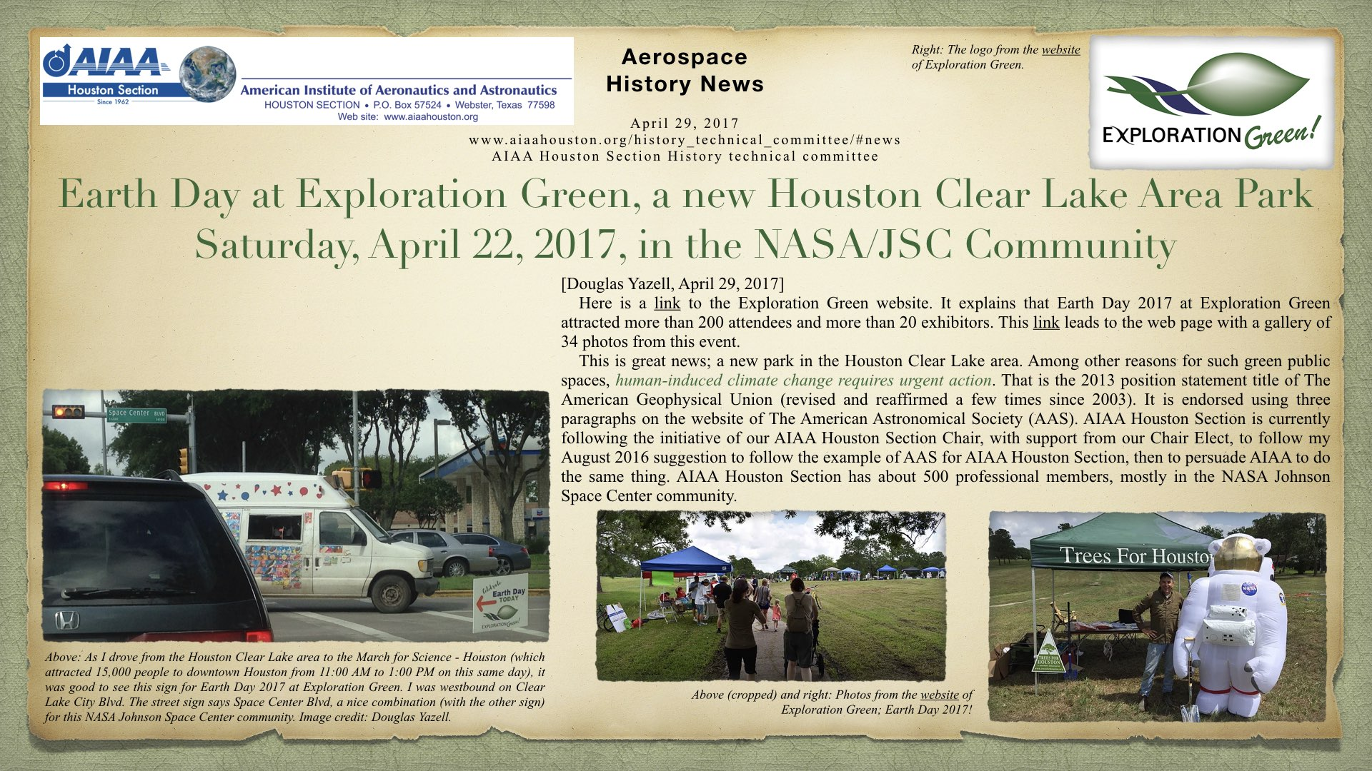 Above: Earth Day at Exploration Green, a new Houston Clear Lake Area Park, Saturday, April 22, 2017, in the NASA/JSC Community. (Click to zoom.)