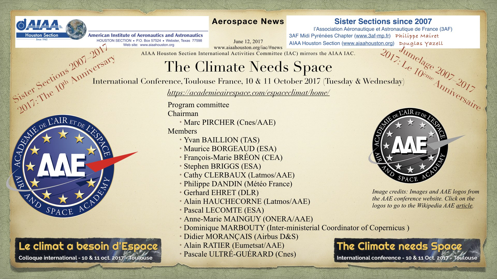 Above: The Climate Needs Space. An upcoming climate conference from AAE in Toulouse France. (Click to zoom.)