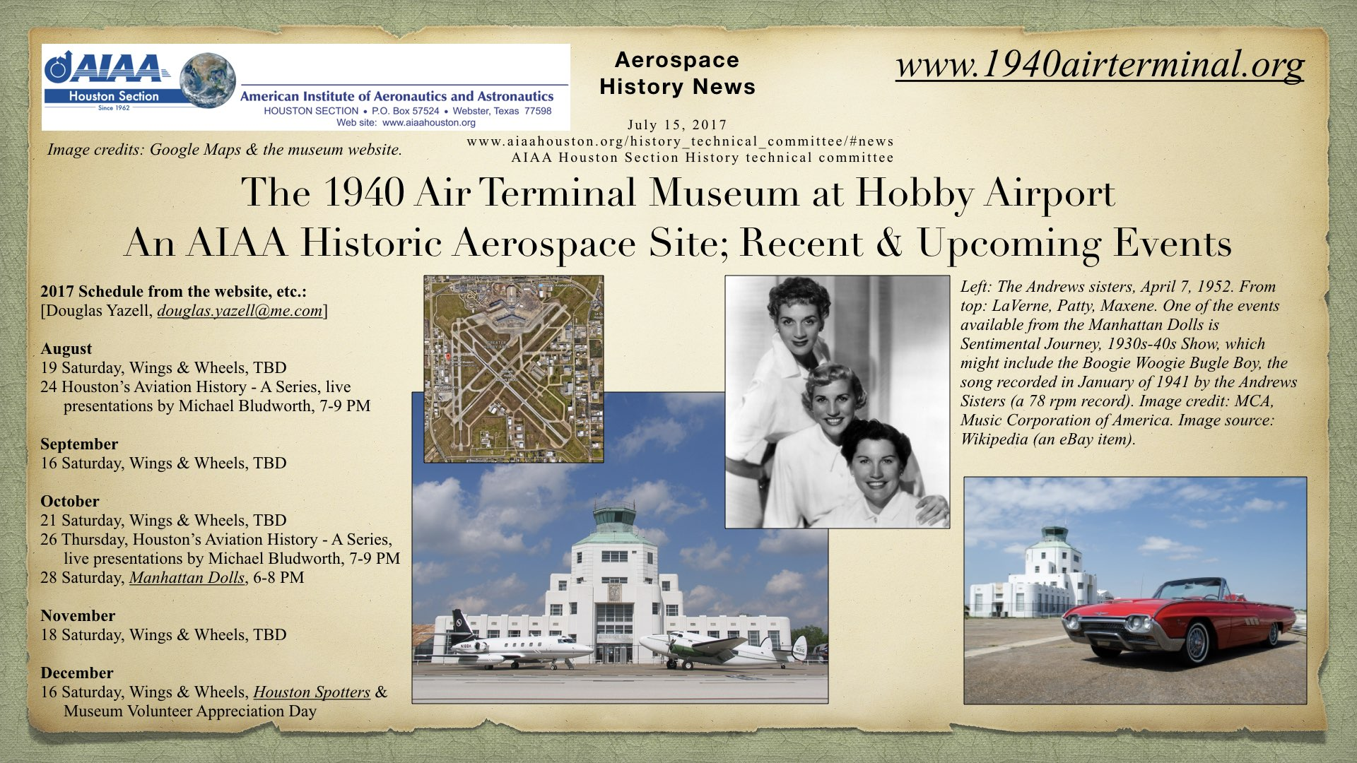 Above: The 1940 Air Terminal Museum at Hobby Airport, an AIAA Historic Aerospace Site. Recent & upcoming events. (Click to zoom.)