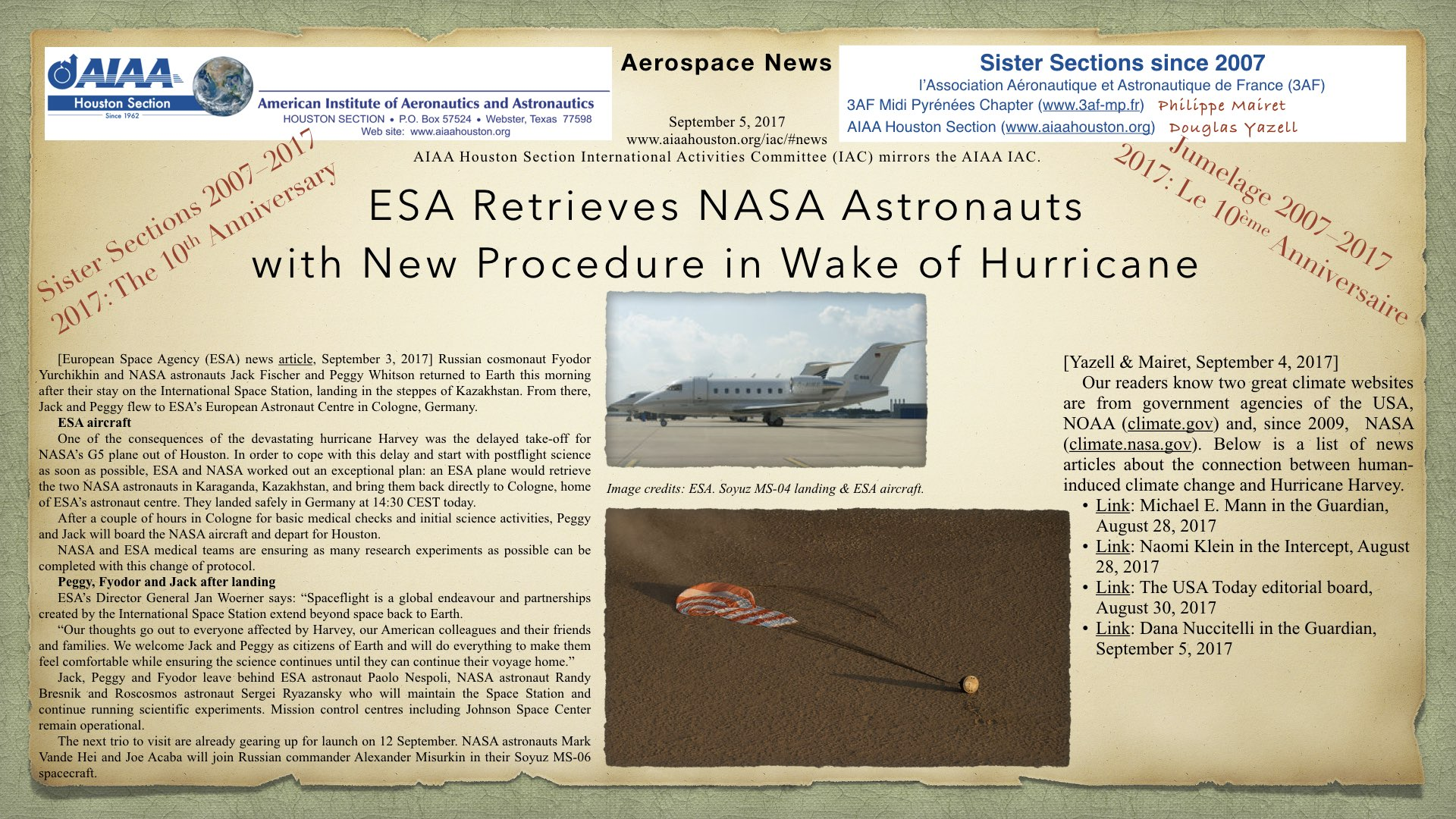 Above: ESA Retrieves NASA Astronauts with New Procedure in Wake of Hurricane, a news article from the European Space Agency (ESA), September 3, 2017, with the connection between the human-induced climate crisis and Hurricane Harvey, by Douglas Yazell & Philippe Mairet. (Click to zoom.)