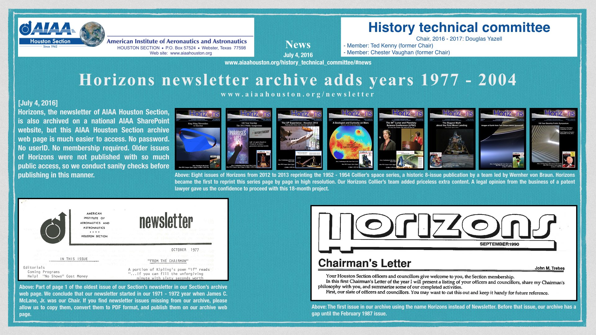 Above: A JPEG image serving as a reminder that the AIAA Houston Section Horizons newsletter archive web page is now updated to add more than issues from 1977 to 2004. (Click to zoom.)