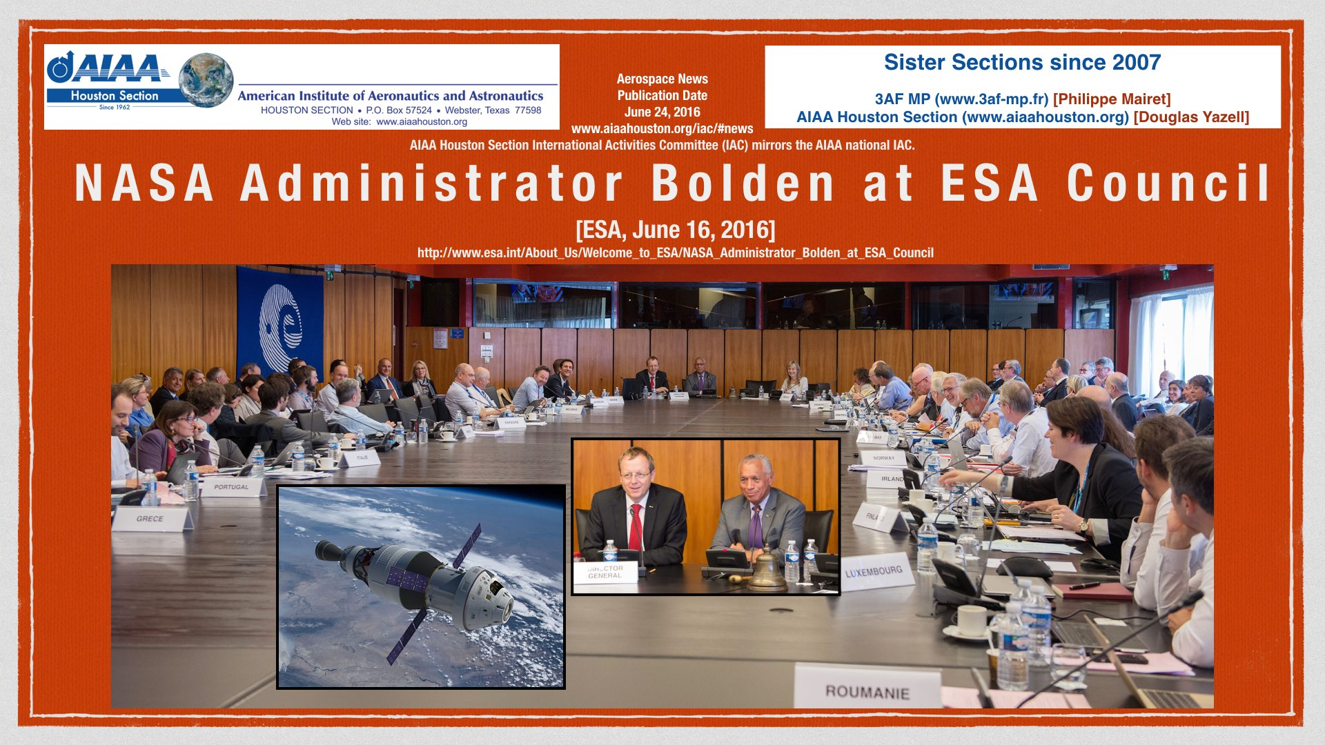 Above: NASA Administrator Bolden at ESA Council. (Click to zoom.)