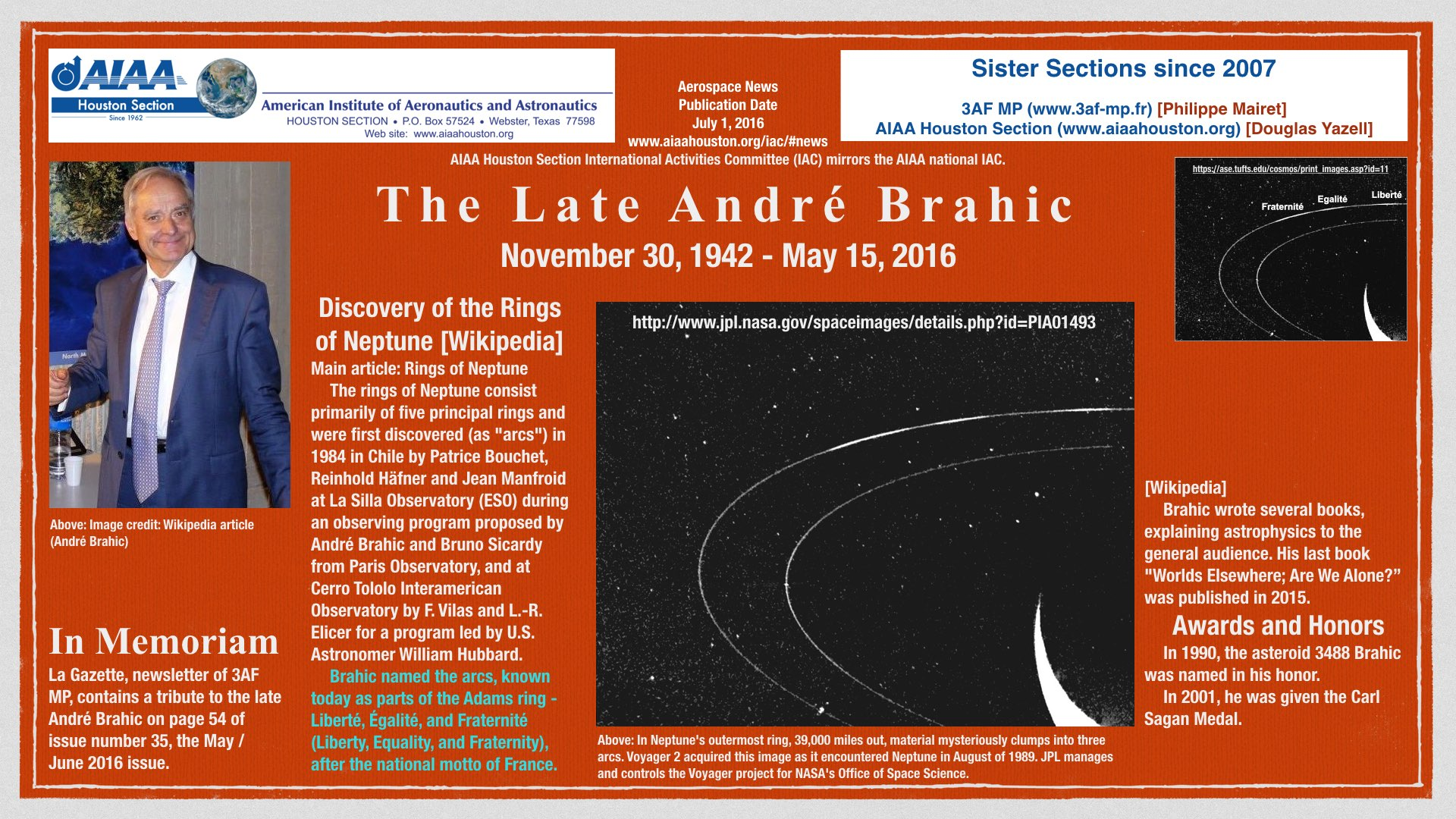 Above: The late astrophysicist André Brahic. (Click to zoom.)