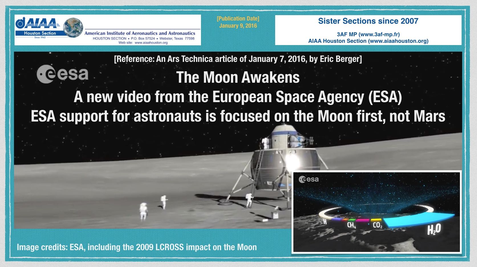 Above: ESA decides to support astronauts to the Moon first, Mars later? (Click to zoom.) Image credits: ESA video screen capture images, The Moon Awakens.