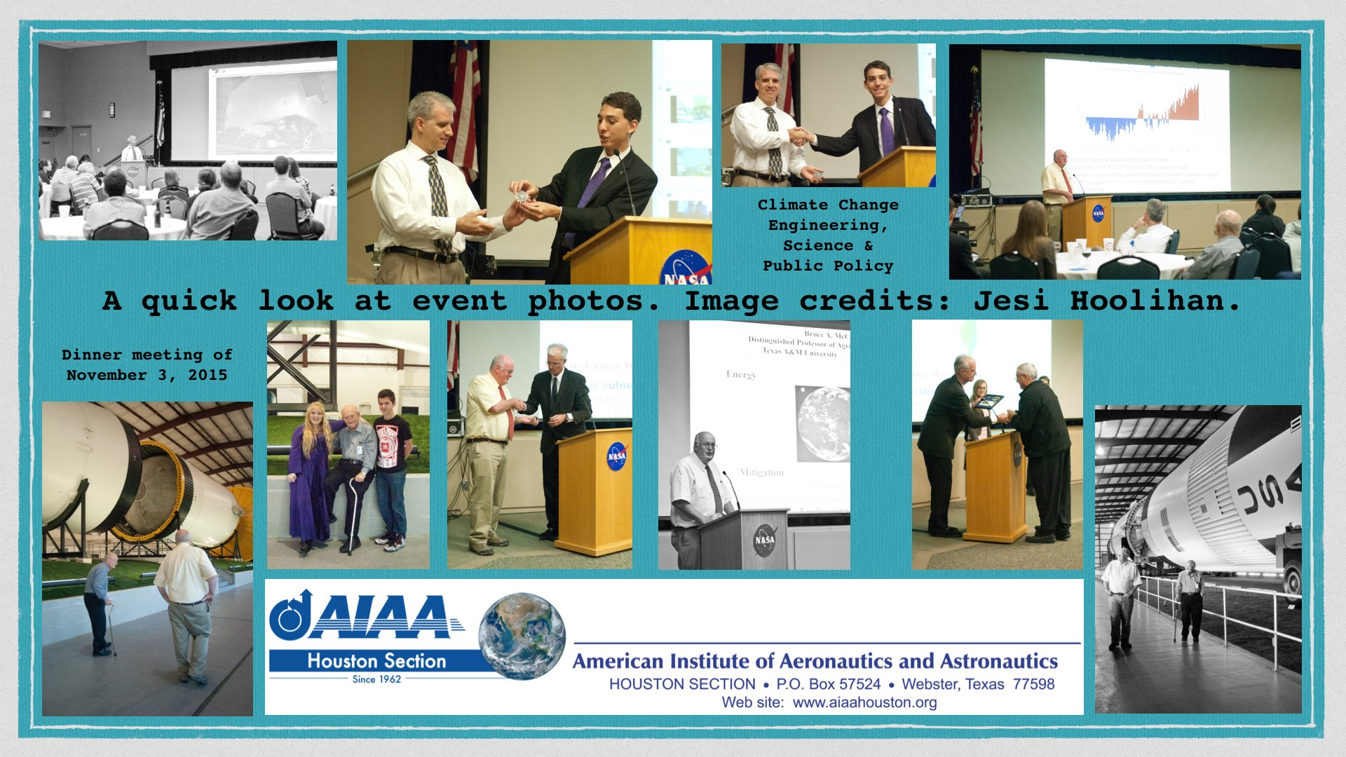 Above: Climate change engineering, science & public policy dinner meeting event photos; a quick look from November 3, 2015. (Click to zoom.) Image credits: Jesi Hoolihan.