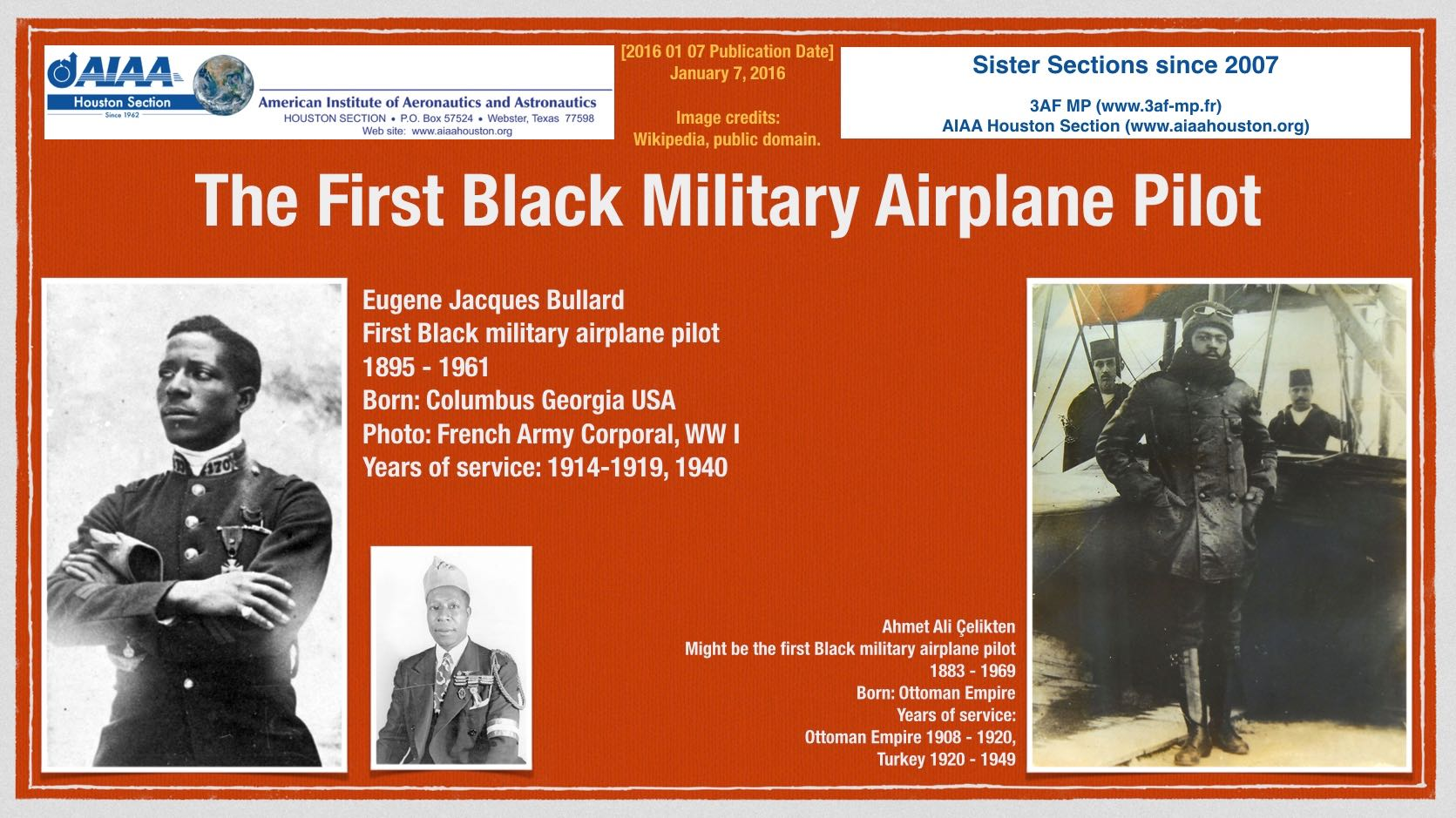 Above: First Black military airplane pilot. Wikipedia articles: Bullard. Çelikten. (Click to zoom.)