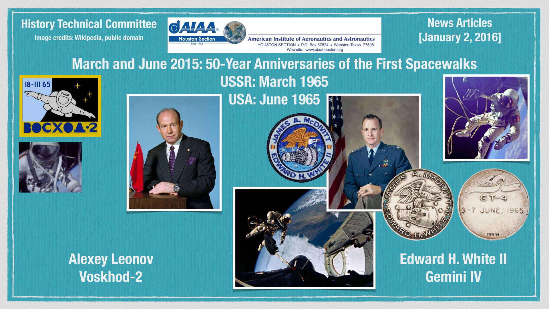 Above: March and June 2015: The 50-Year Anniversary of the First Spacewalks. (Click to zoom.) Image credits: Wikipedia (public domain).