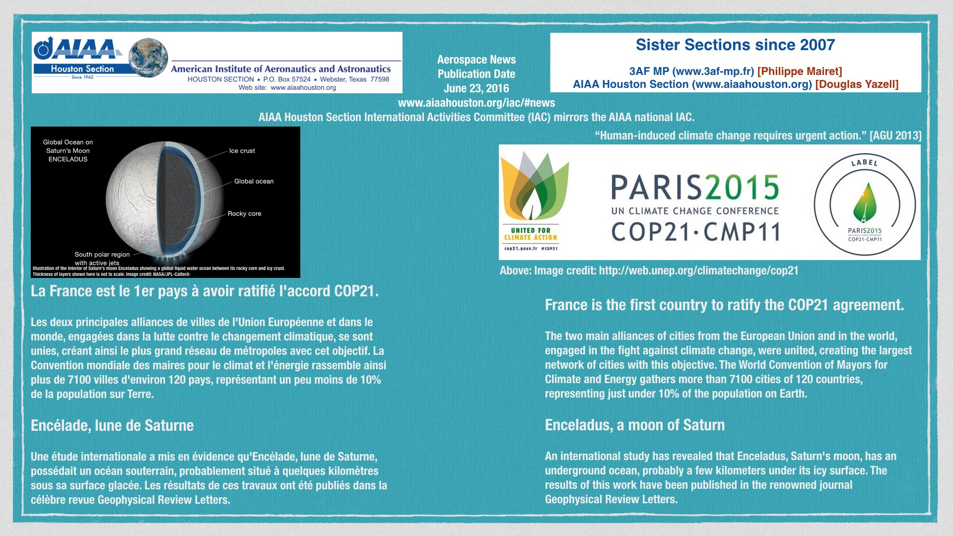 Above: News of Enceladus, a moon of Saturn, and news of the first country to ratify COP 21. (Click to zoom.)