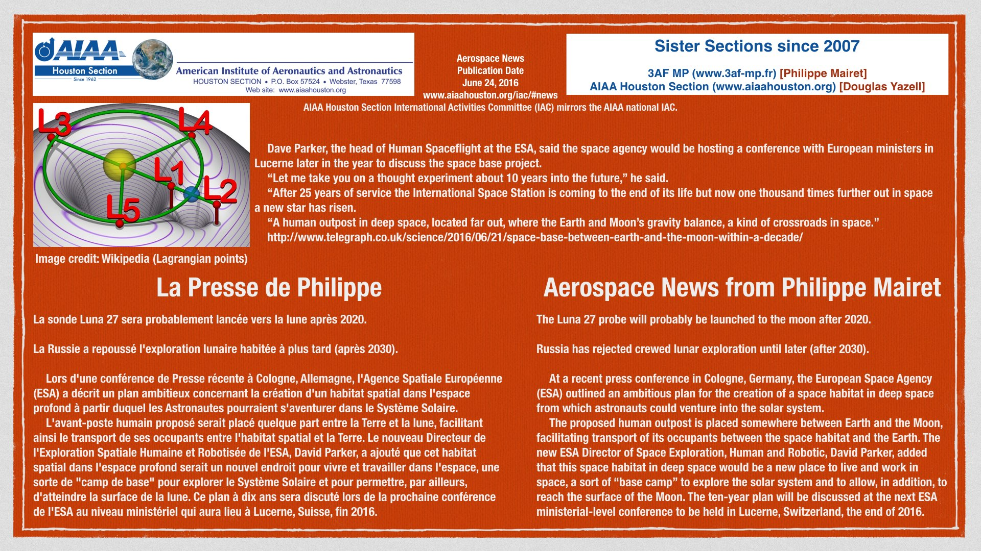 Above: Aerospace news articles, including the ESA announcement about a deep space habitat. (Click to zoom.)