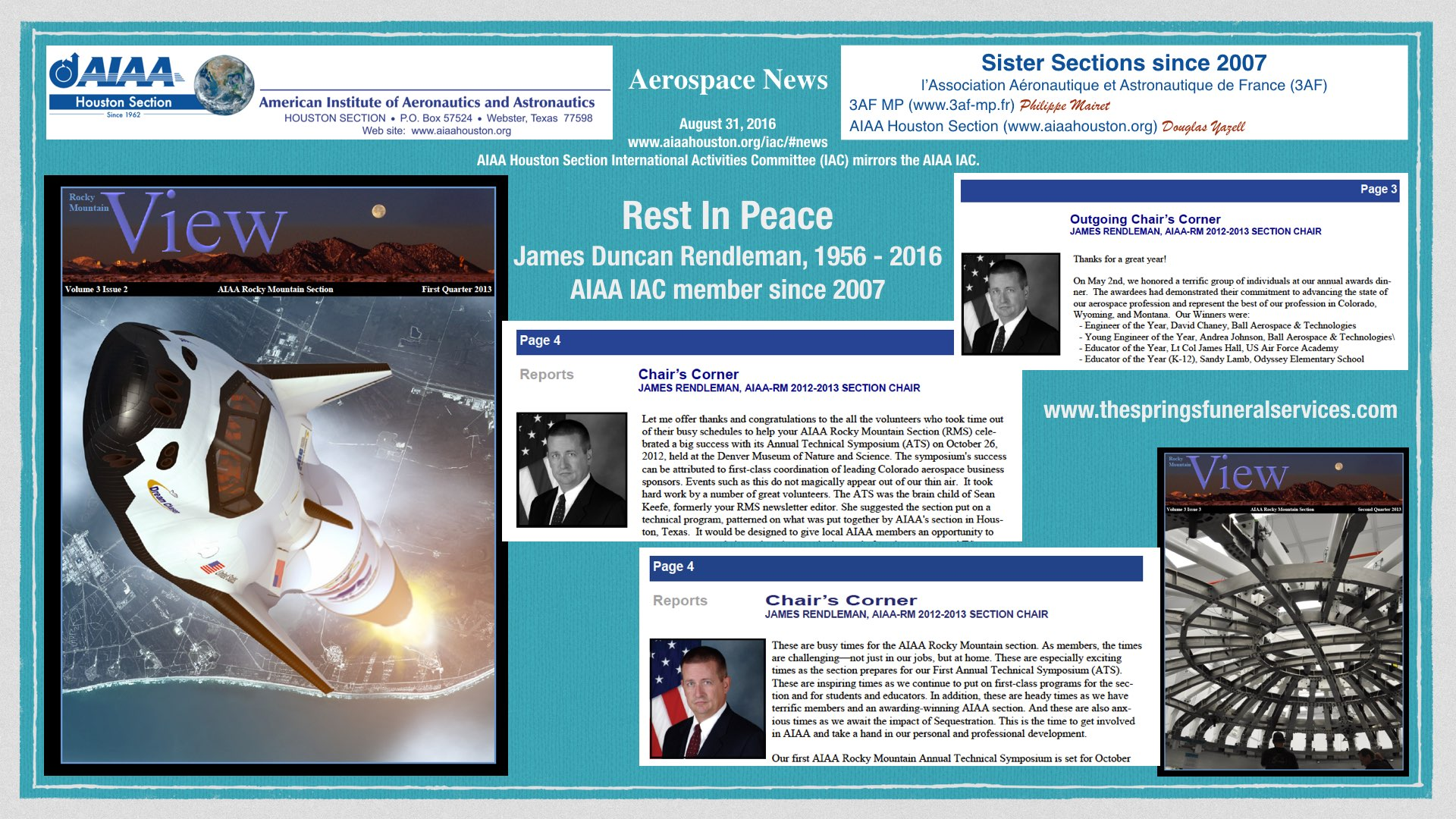 "Above: Rest In Peace, James ""Jim"" Duncan Rendleman, AIAA IAC member since 2007. (Click to zoom.)"