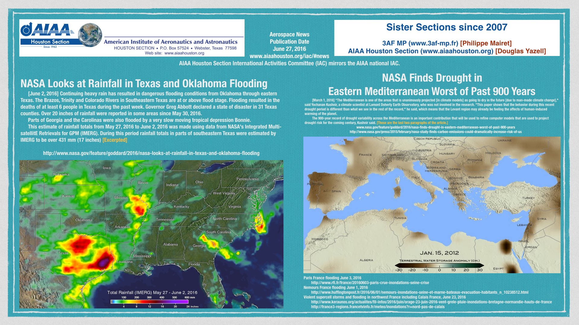Above: Two NASA News Articles about Weather and Climate Change, including Human-Induced Climate Change. (Click to zoom.)