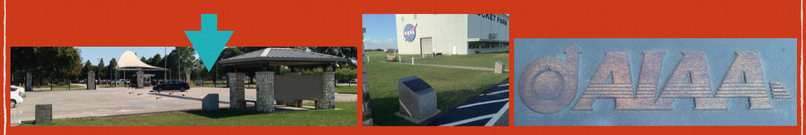 Above: The AIAA Historic Aerospace Sites Johnson Space Center plaque needs polishing! As of November 2015, the lettering is very worn, though other Rocket Park outdoor plaques still look great, such as the Little Joe plaque. Emily Springer sent us a link with instructions for polishing. This is a great project for the AIAA Houston Section History technical committee. The date on the plaque is 2005. We can still read about AIAA Historic Aerospace Sites on an AIAA web page, but the program was stopped, probably due to financial budget troubles. Image credits: Douglas Yazell, using an iPhone 5.