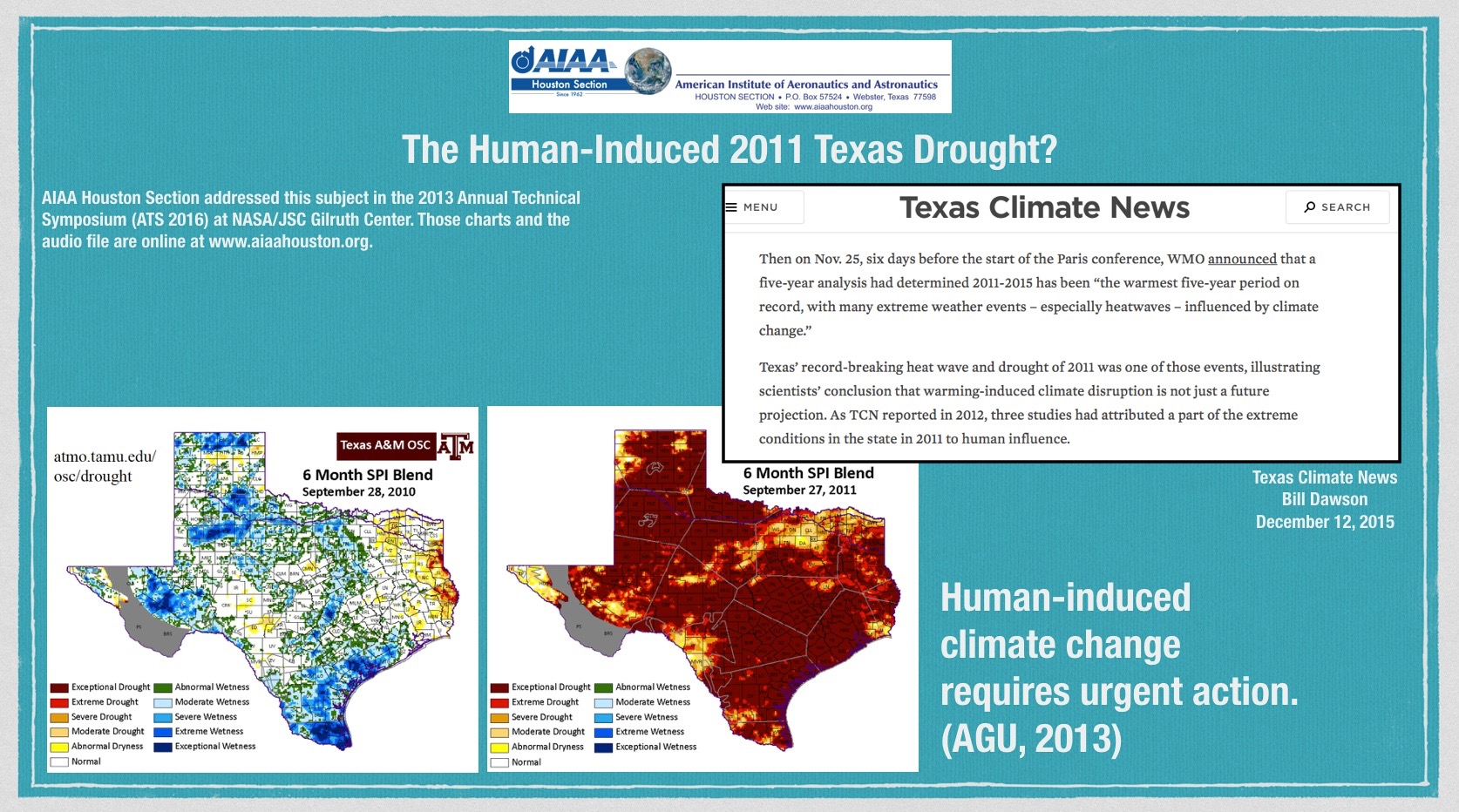Above: News from December 12, 2015 about the 2011 Texas drought. (Click to zoom.)