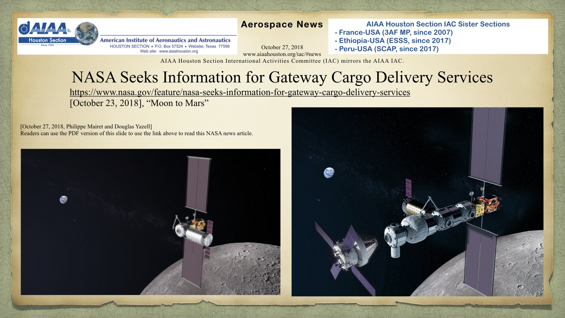 "NASA Seeks Information for Gateway Cargo Delivery Services, NASA news article dated October 23, 2017, under the NASA category, ""Moon to Mars."" (Click to zoom.)"