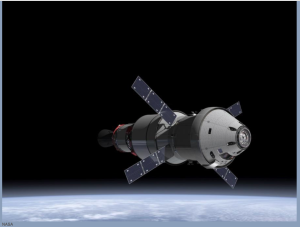 Above: The NASA Orion Multi-Purpose Crew Vehicle (MPCV) with the European Service Module (ESM) from the European Space Agency (ESA). Click to zoom. Image credit: NASA artwork.